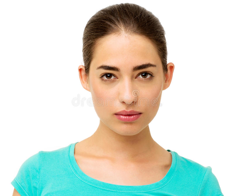 Femme sûre sur le fond blanc photographie stock libre de droits