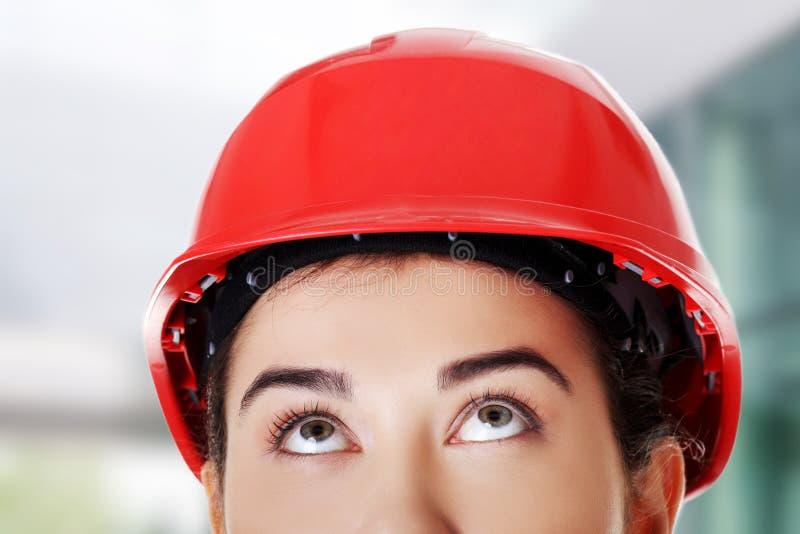 femme s'usante de casque photo stock