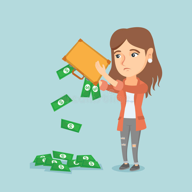 Femme sans ressources secouant l'argent de la serviette illustration stock