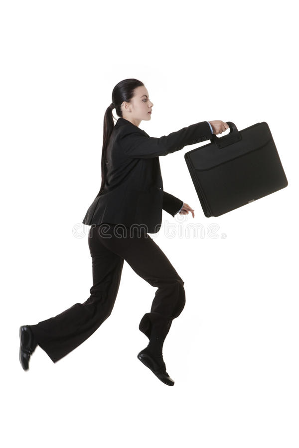 Femme sautante d'affaires photo stock