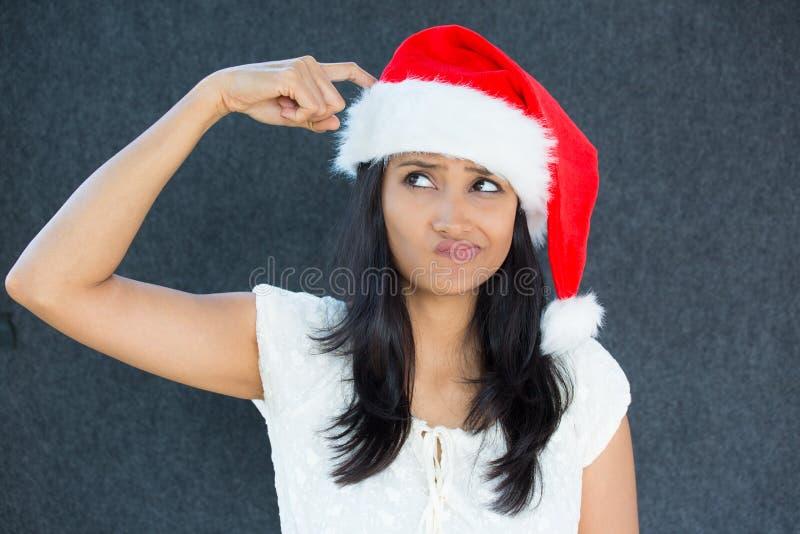 Femme se demandante de Noël photo stock