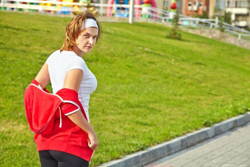 Femme se préparant à la formation image libre de droits