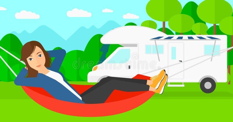 Femme se situant dans l'hamac illustration de vecteur