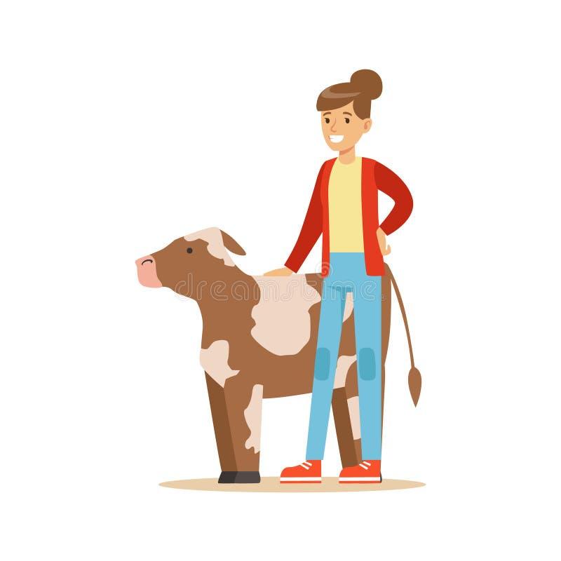 Femme se tenant à côté du veau de vache, ferme de Working At The d'agriculteur et se vendant sur le marché de produit biologique  illustration libre de droits