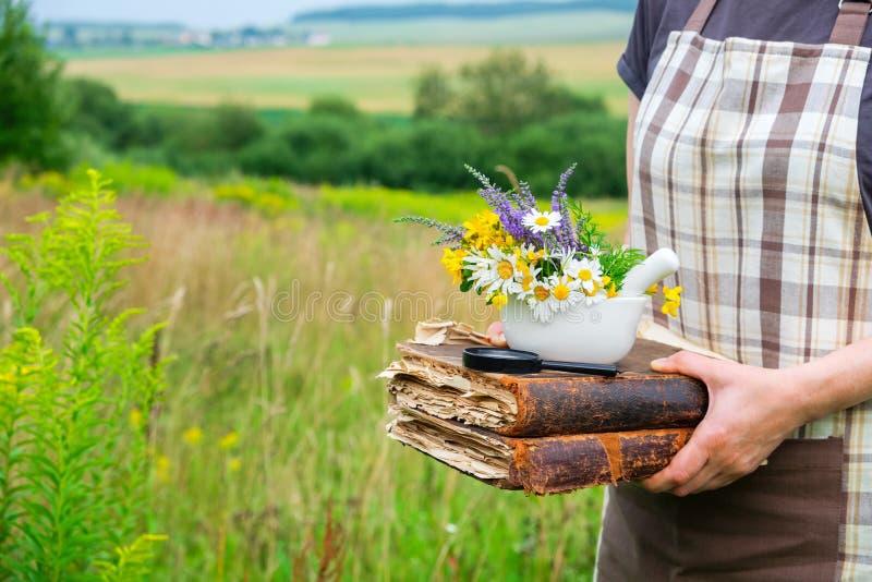 Femme se tenant dans ses livres de mains, un mortier et la loupe photo libre de droits