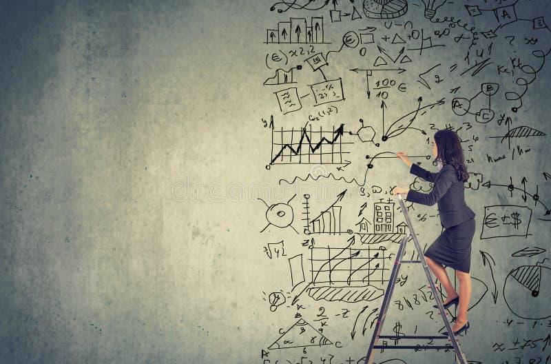 Femme se tenant sur l'échelle et les idées de dessin de plan d'action images stock