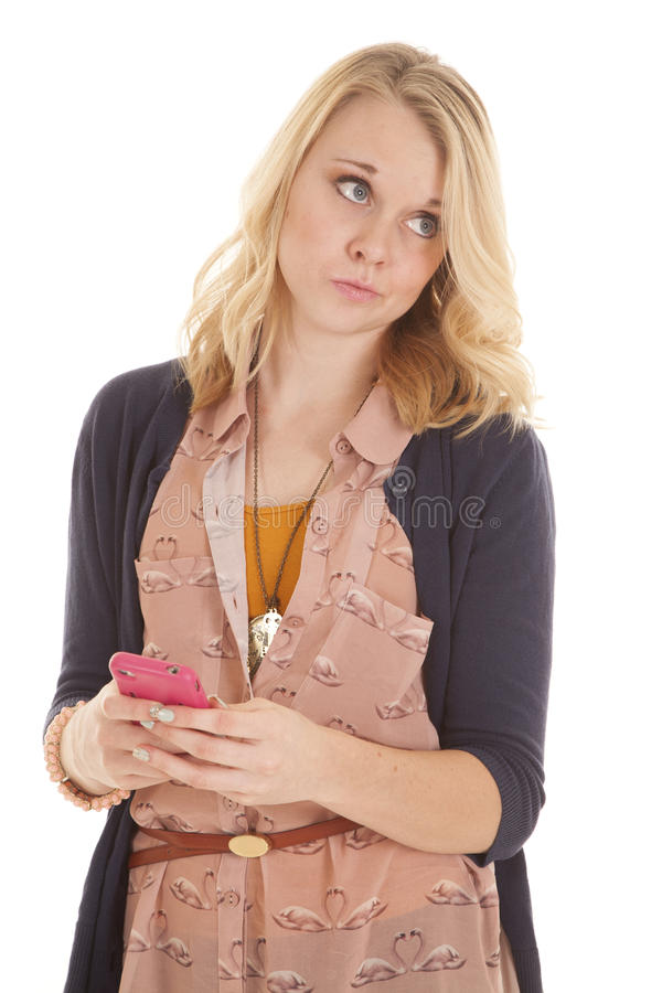 Femme semblant latérale avec le texte de téléphone images stock
