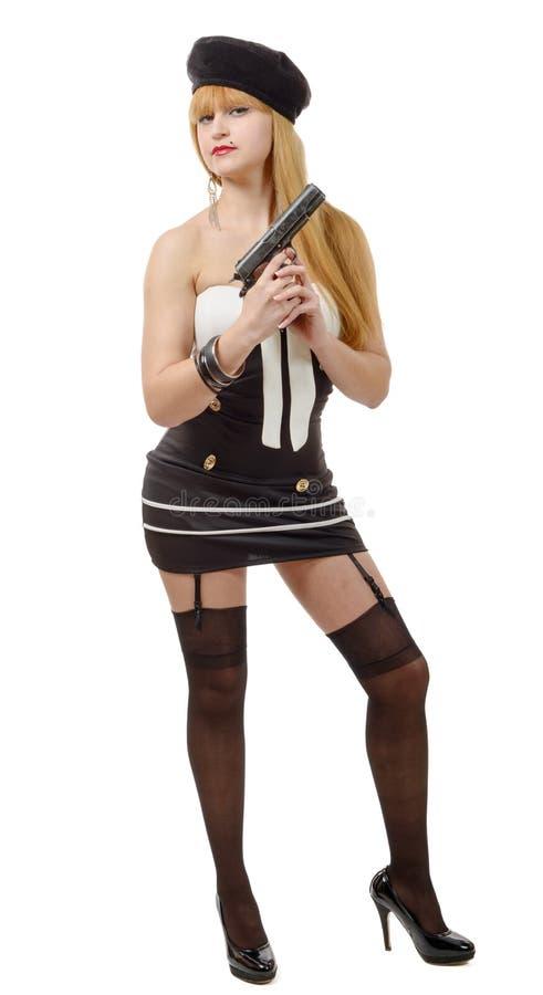 Download Femme Sexy Assez Jeune Avec L'arme à Feu Sur Le Blanc Photo stock - Image du fille, beauté: 77160906
