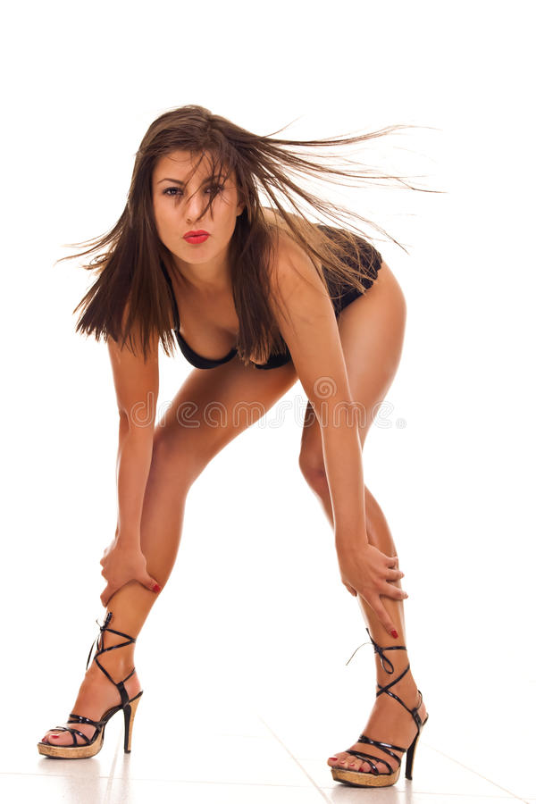 Femme sexy avec le cheveu sauvage image stock