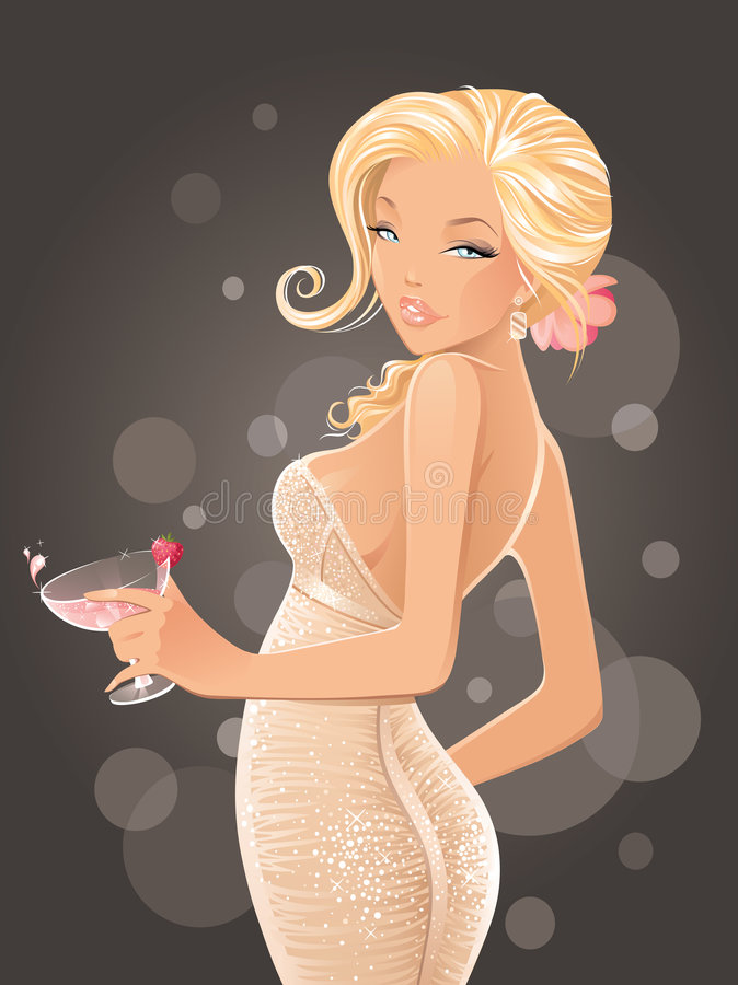 Femme sexy avec le cocktail illustration stock
