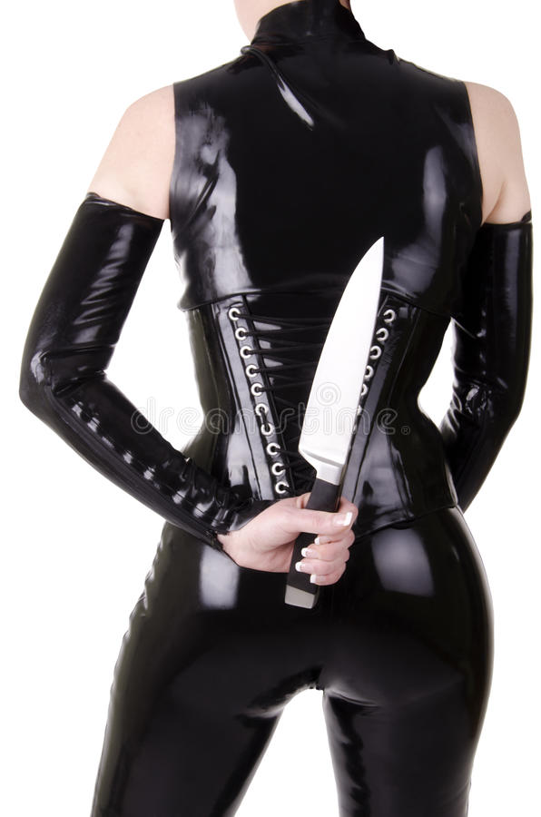 Femme sexy avec le couteau de cuisine. images stock