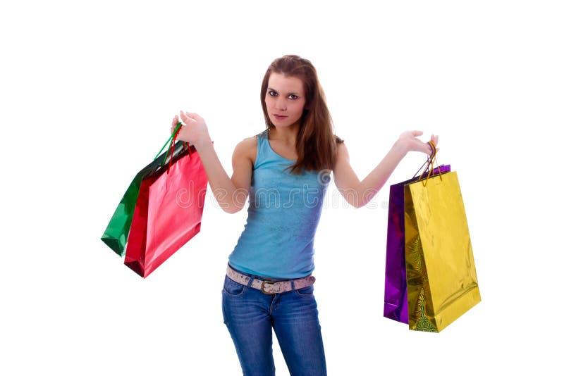 Femme sexy avec les sacs shoping images stock