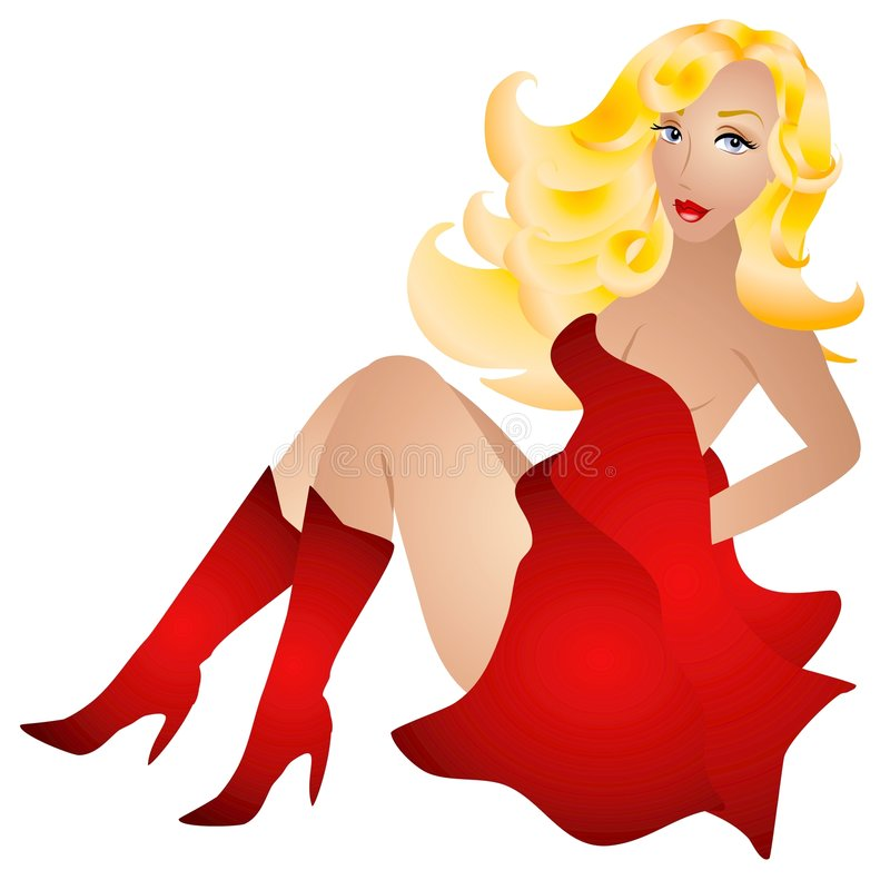 Femme sexy blond en rouge illustration de vecteur