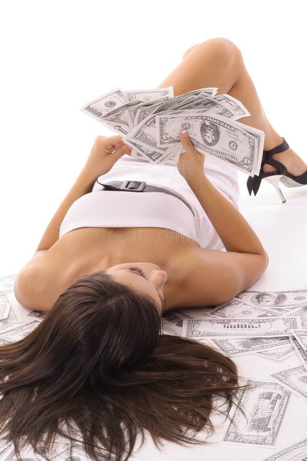Femme sexy comptant l'argent images libres de droits