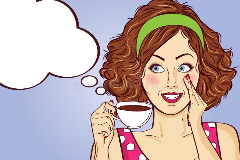 Femme sexy d'art de bruit avec la tasse de café illustration stock