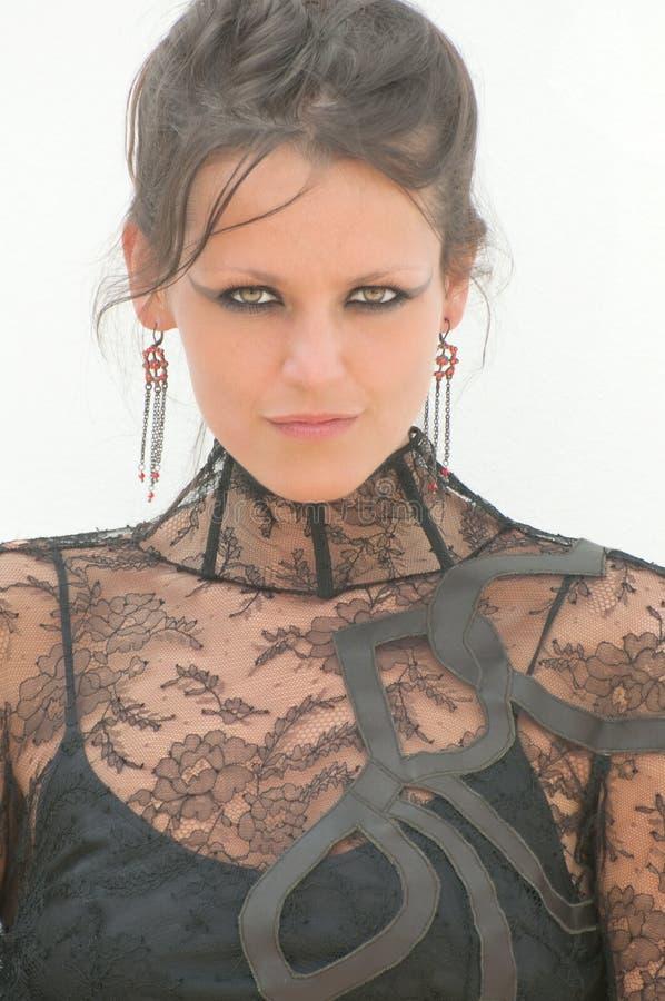 Femme Sexy Dans La Robe De Dentelle Image libre de droits