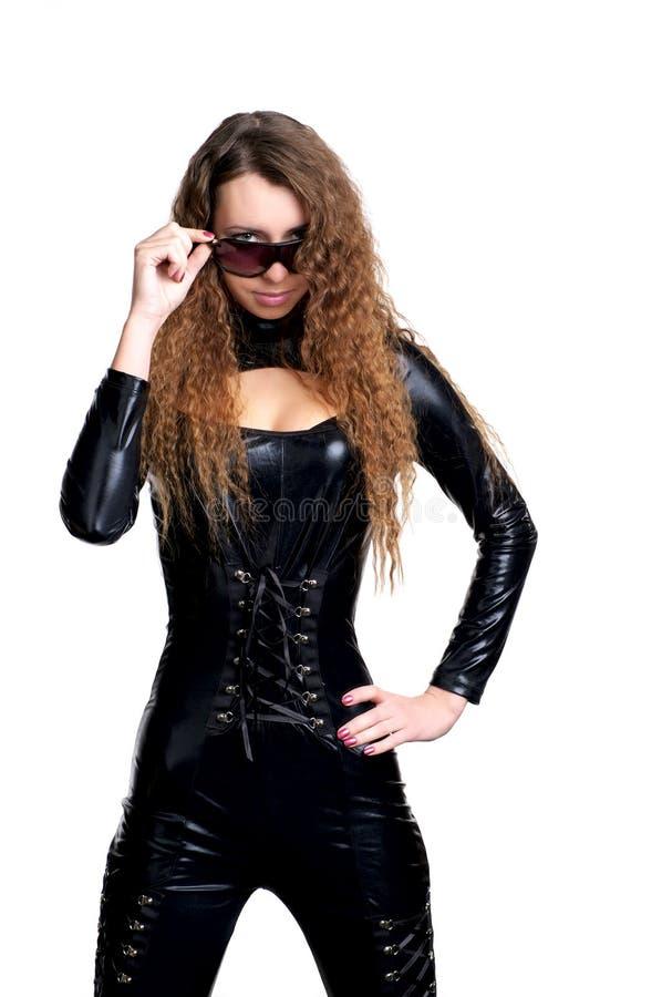 Femme sexy dans le latex collant images libres de droits