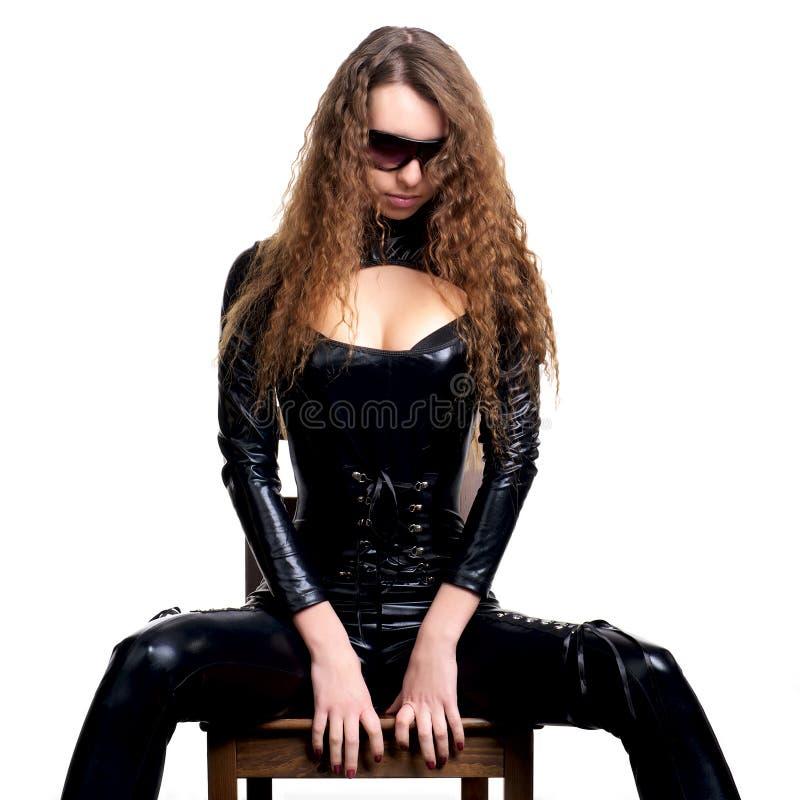 Femme sexy dans le latex collant photos stock