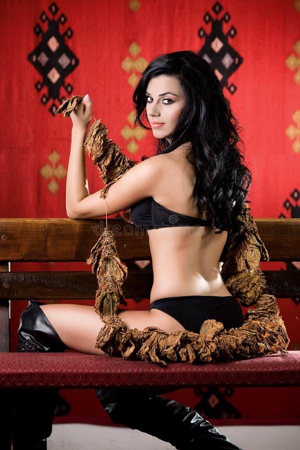 Femme sexy de tabac photo stock