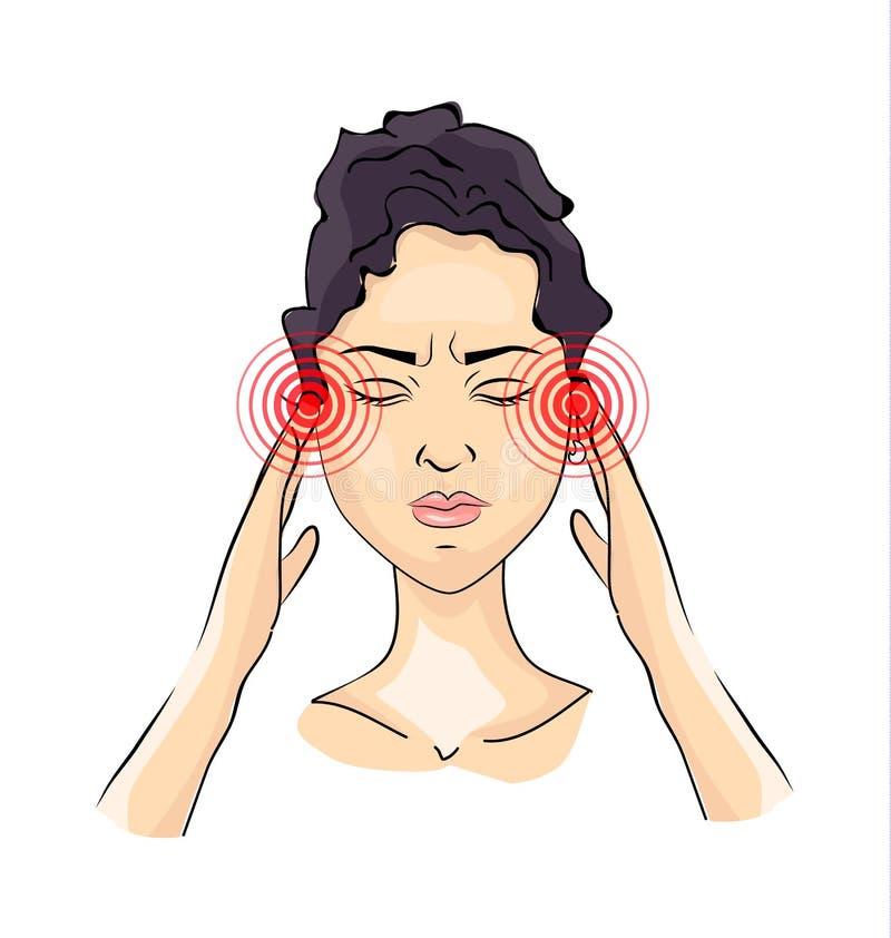 Femme souffrant d'un mal de tête illustration stock