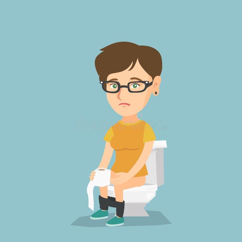 Femme souffrant de la diarrhée ou de la constipation illustration libre de droits