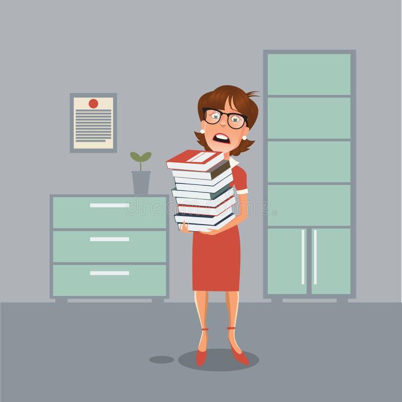 Femme soumise à une contrainte d'affaires avec des documents dans le bureau illustration stock