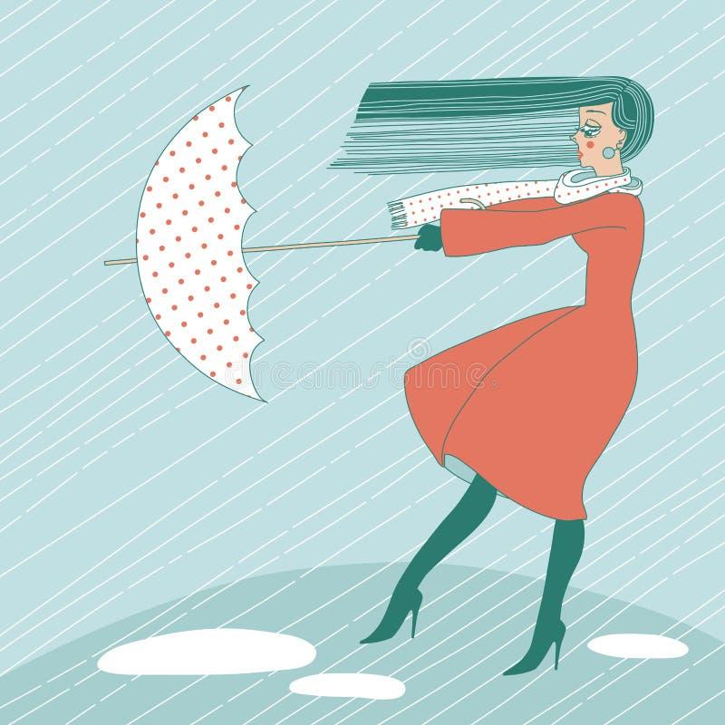 Femme sous la pluie illustration de vecteur