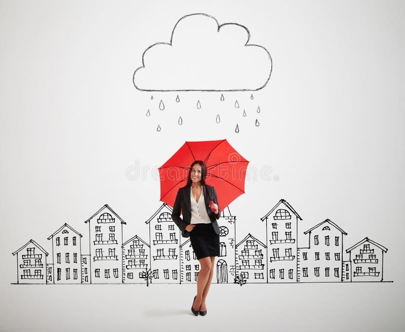Femme sous le nuage de tempête de dessin image stock