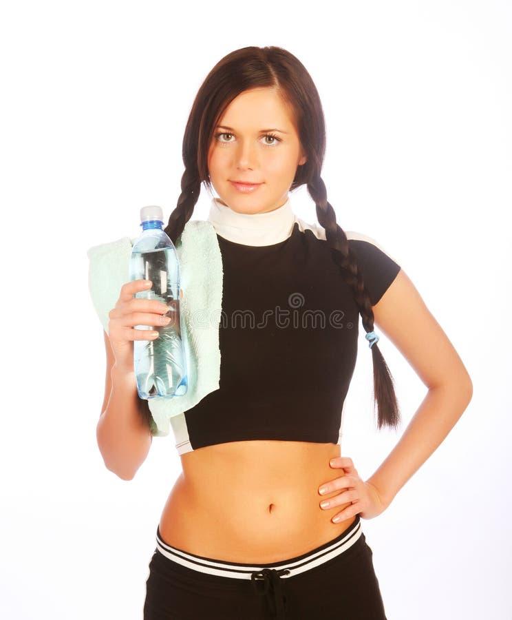 Femme sportif avec de l'eau minéral photo stock