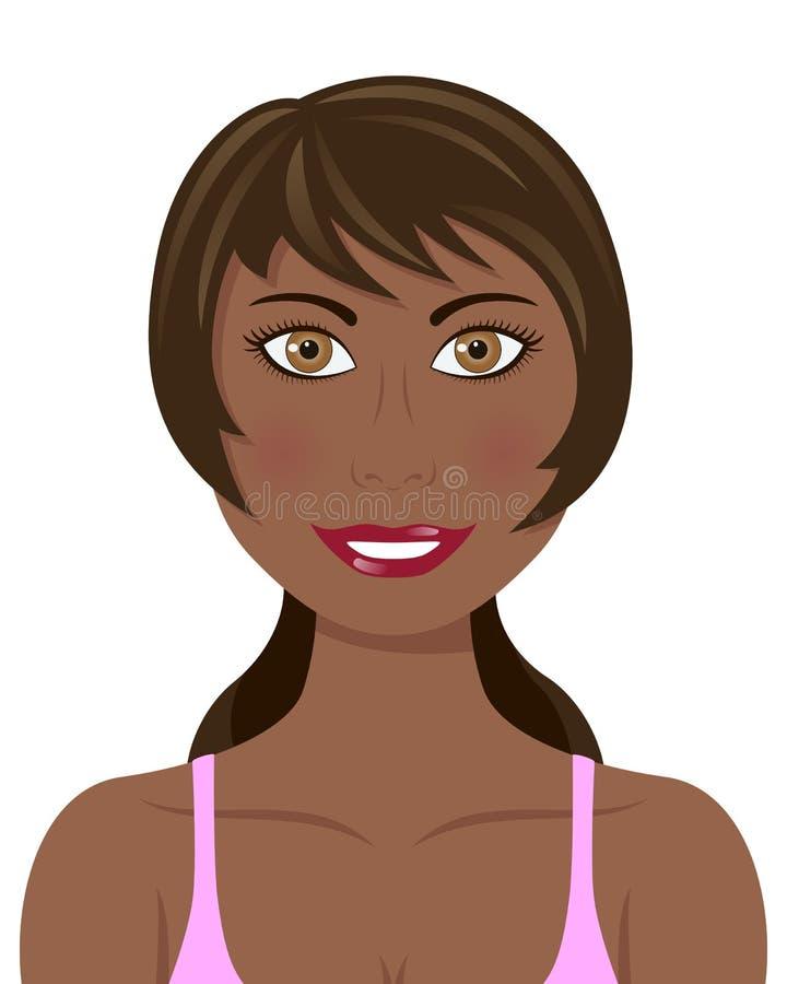 Femme sportive d'Afro avec des cheveux de Brown illustration de vecteur