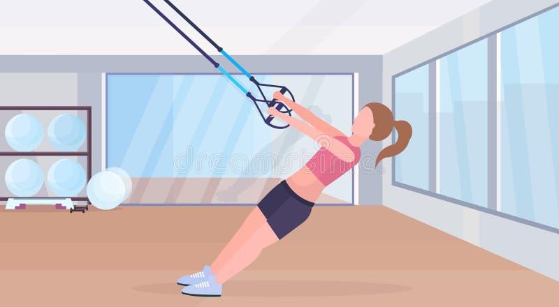 Femme sportive faisant des exercices avec le concept élastique de séance d'entraînement de crossfit de formation de fille de cord illustration de vecteur
