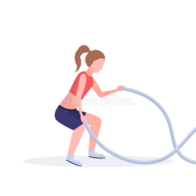 Femme sportive faisant des exercices de crossfit avec la formation de fille de corde de bataille dans le concept sain de mode de  illustration de vecteur
