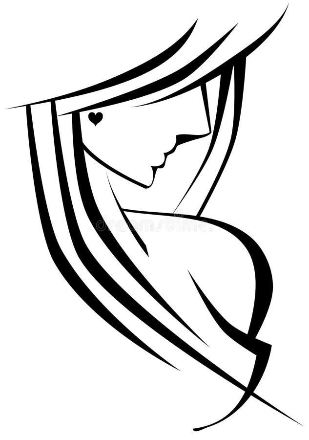 Femme stylisée avec le coeur illustration stock