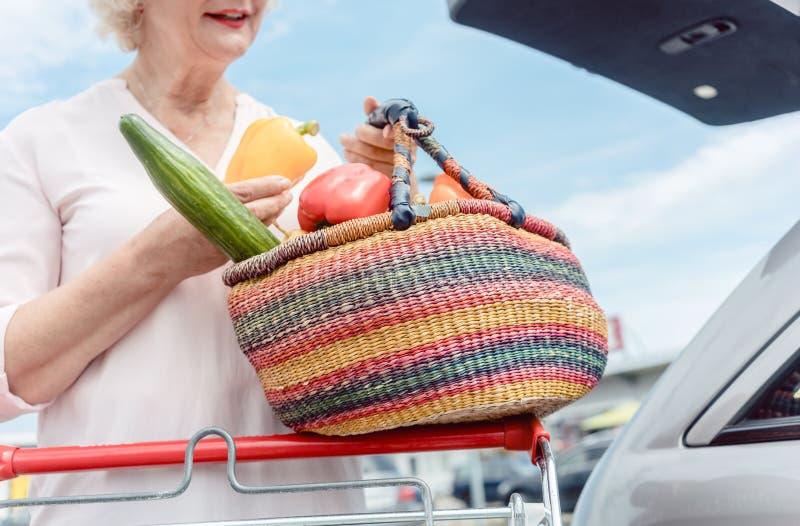 Femme supérieure gaie jugeant un panier plein des légumes frais photo stock