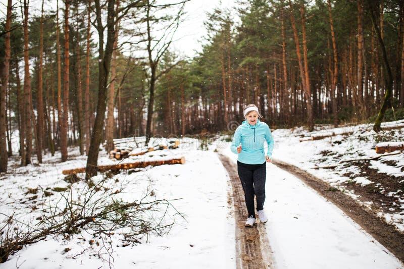 Femme supérieure heureuse pulsant en nature d'hiver image libre de droits