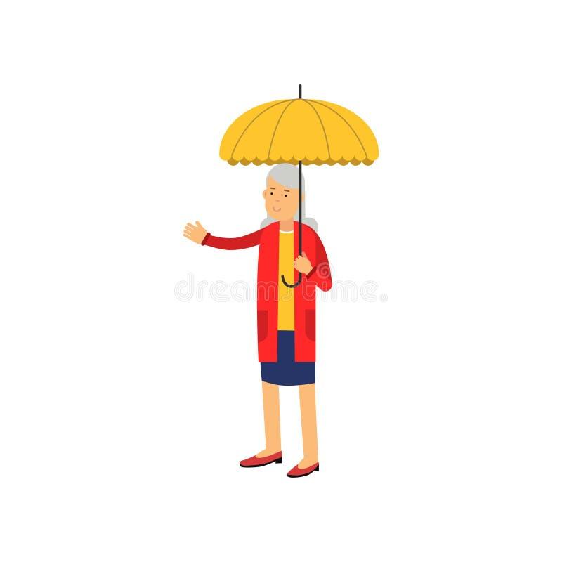 Femme supérieure se tenant sous l'illustration jaune de vecteur de parapluie illustration de vecteur