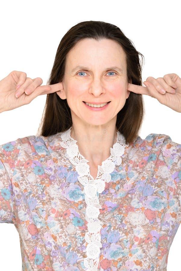 Femme supérieure sourde photographie stock libre de droits