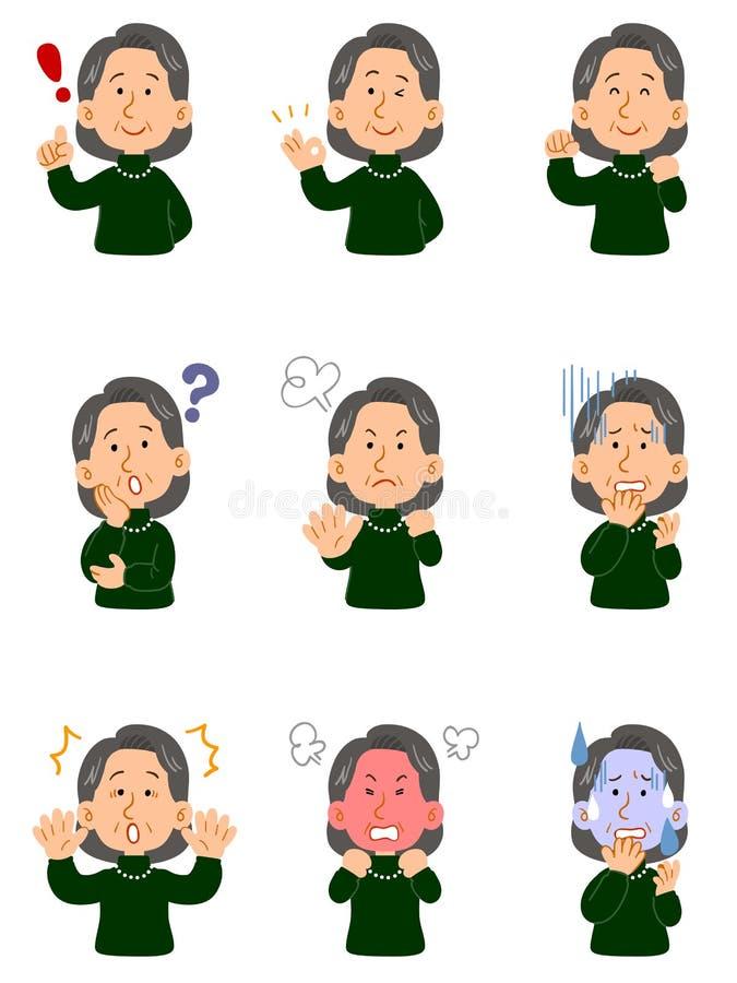 Femme supérieure utilisant un chandail vert, ensemble de neuf poses différentes, corps supérieur illustration libre de droits