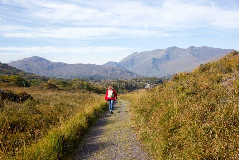 Femme sur augmenter en parc national de Killarney image libre de droits