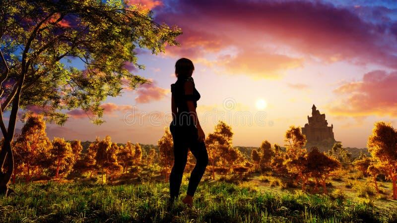 Femme sur la forêt d'imagination illustration stock