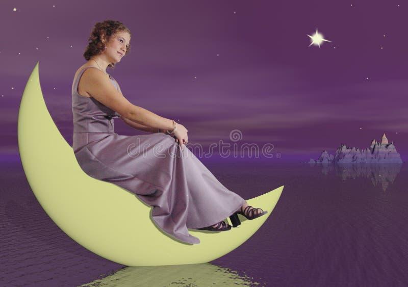 Femme sur la lune photo stock