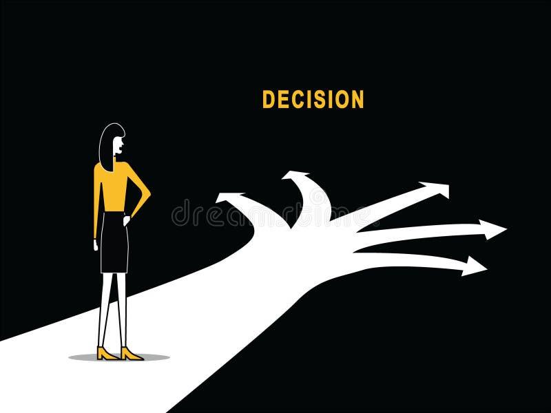 Femme sur la pensée multi de chemin illustration stock