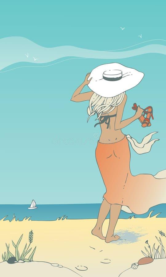 Femme sur la plage illustration de vecteur