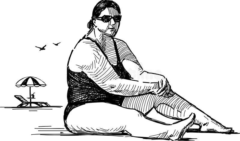 Femme sur la plage illustration libre de droits