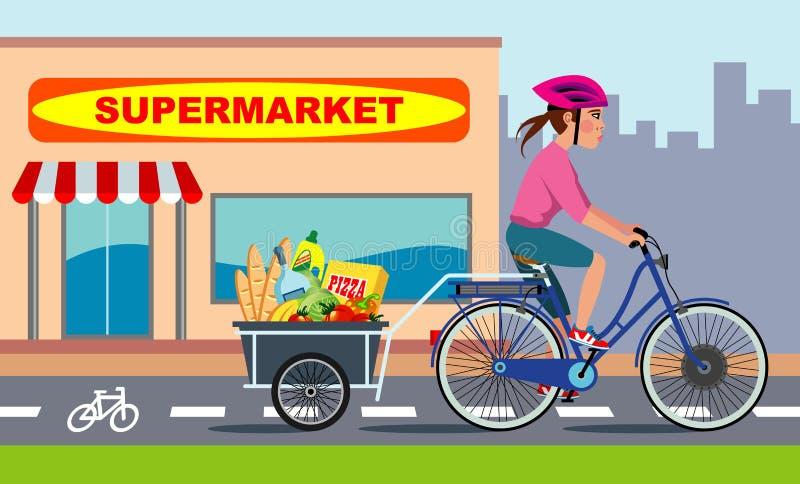 Femme sur le vélo avec des épiceries illustration stock