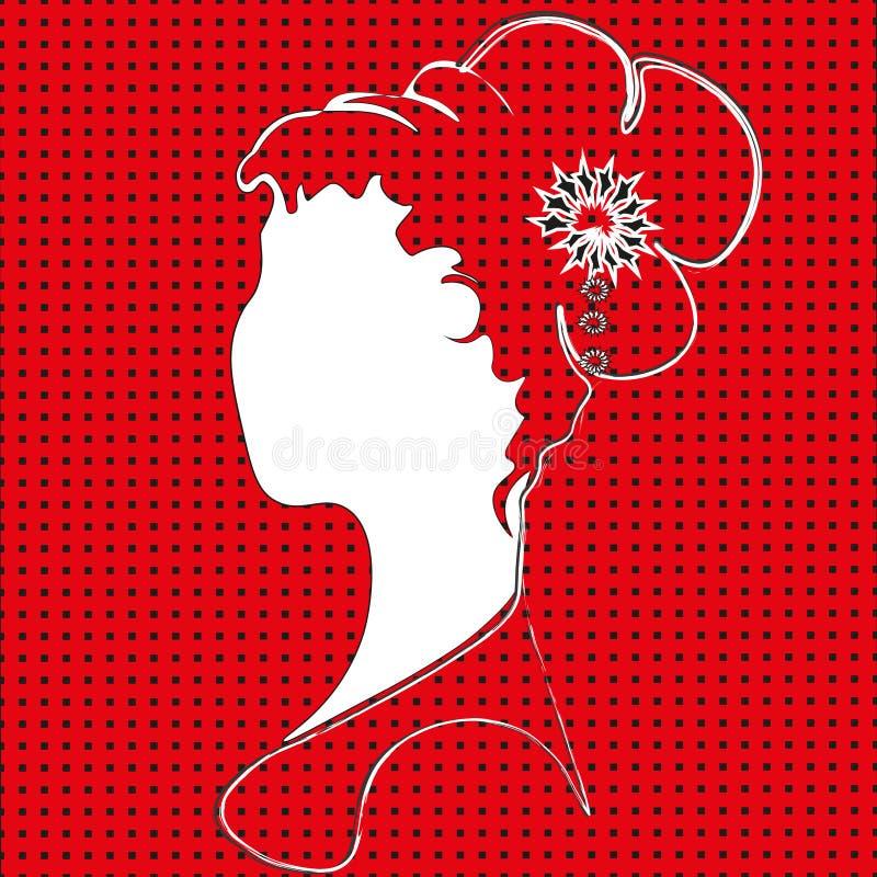 Femme sur un fond rouge illustration libre de droits