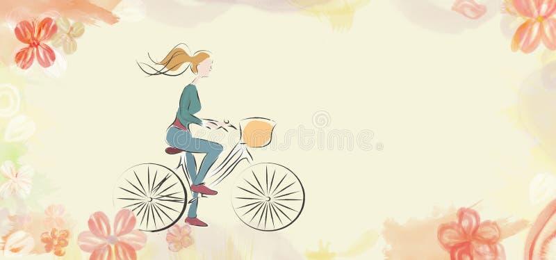 Femme sur un vélo sur le fond de fleur illustration de vecteur
