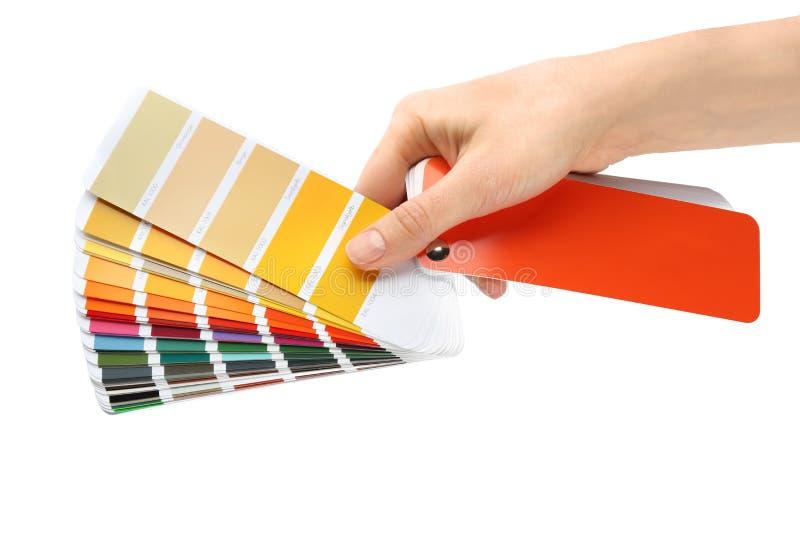 Femme tenant des échantillons de palette de couleurs photographie stock libre de droits