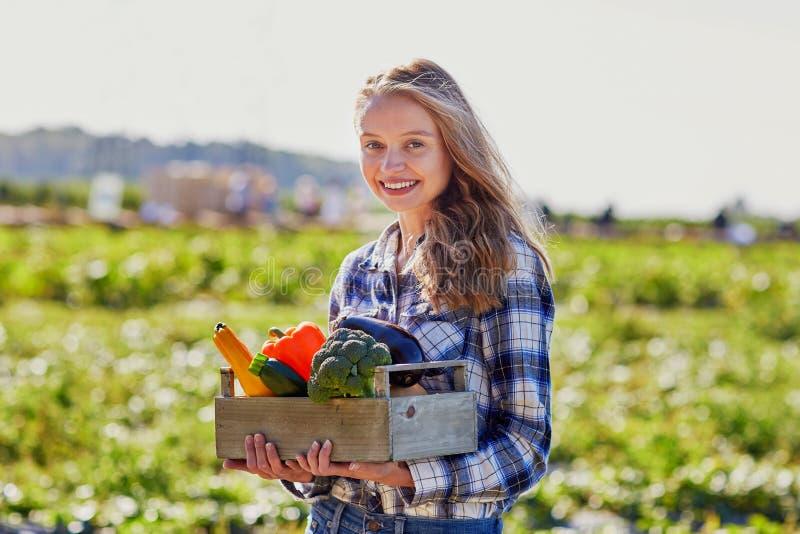 Femme tenant la caisse en bois avec les légumes organiques frais photographie stock