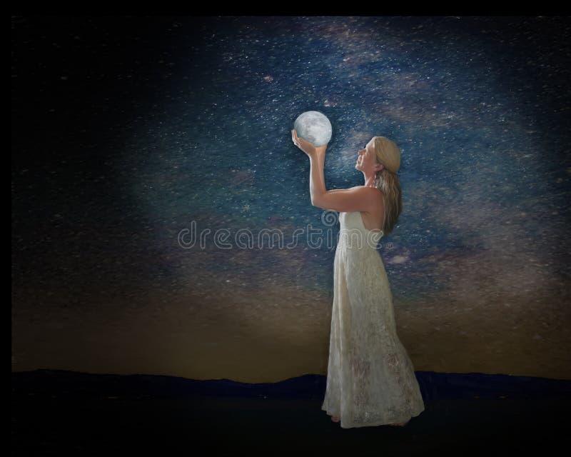 Femme tenant la planète illustration stock